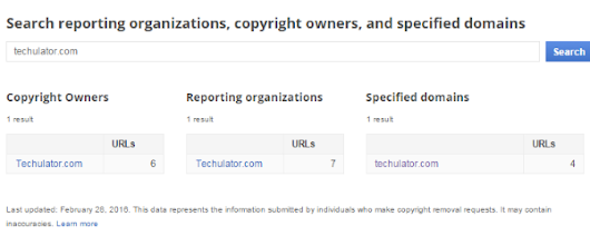 How to use Google Transparency Report to find all DMCA notices against your website