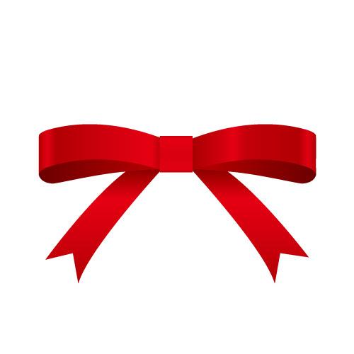 赤い帯で結ばれた定番のリボンイラスト 無料商用可能リボン