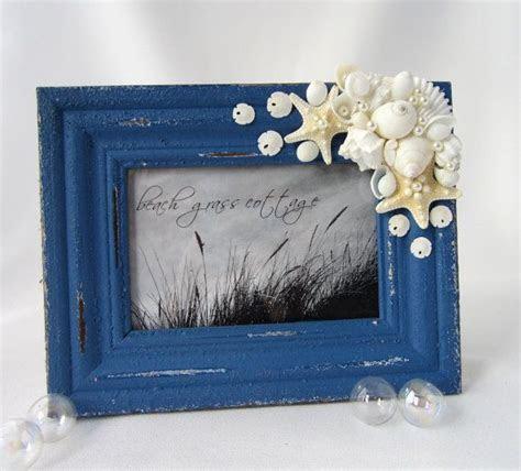 Beach Decor Seashell Frame   Nautical Antiqued 4x6 Frame w