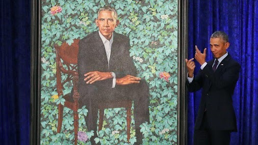 Kehinde Wiley's portrait of former President (and White Sox fan) Barack Obama on a backdrop of ivy-looking...