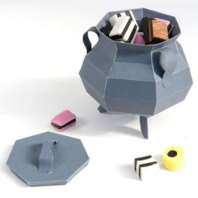 Papercraft imprimible y recortable del caldero de la bruja. Manualidades a Raudales.