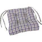 Ellis Curtain Bristol Collection Plaid Cushioned Chair Pad, Blue