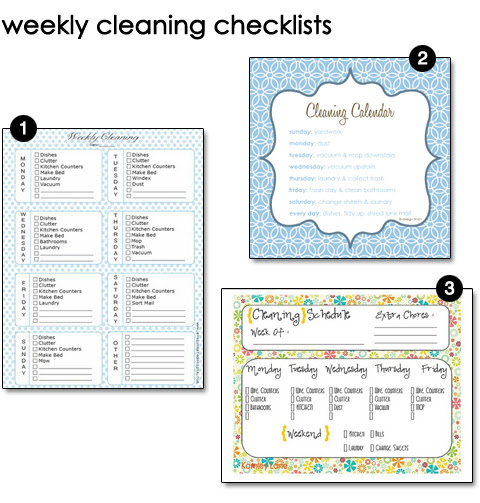 Free Printable Weekly Cleaning Schedules