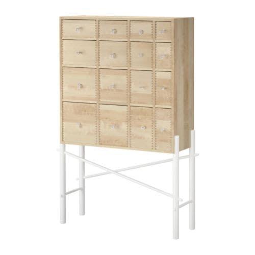 "IKEA PS SINKA Cabinet with drawers, birch, white Width: 37 "" Depth: 11 3/4 "" Height: 54 3/8 ""  Width: 94 cm Depth: 30 cm Height: 138 cm"