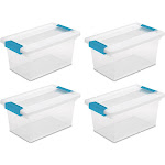4 Pack) Sterilite 19628604 Medium Clip Box Clear Storage Tote Container with Lid by VM Express