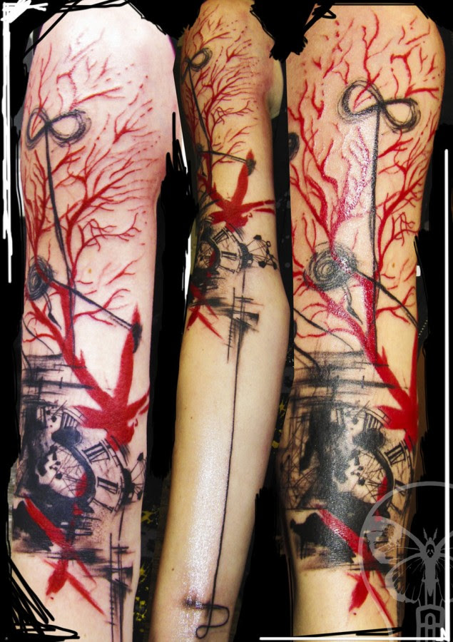 Geometric Abstract Tattoo Red And Black Sleeve Tattoomagz