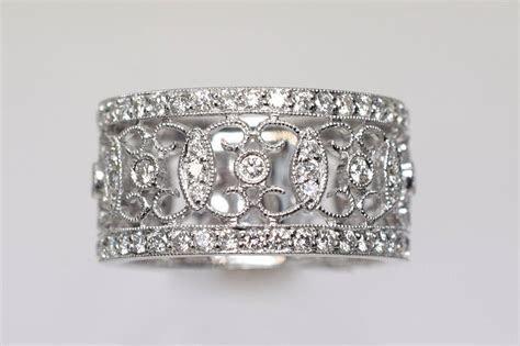 Diamond Gold Lace Design Band Ring at 1stdibs