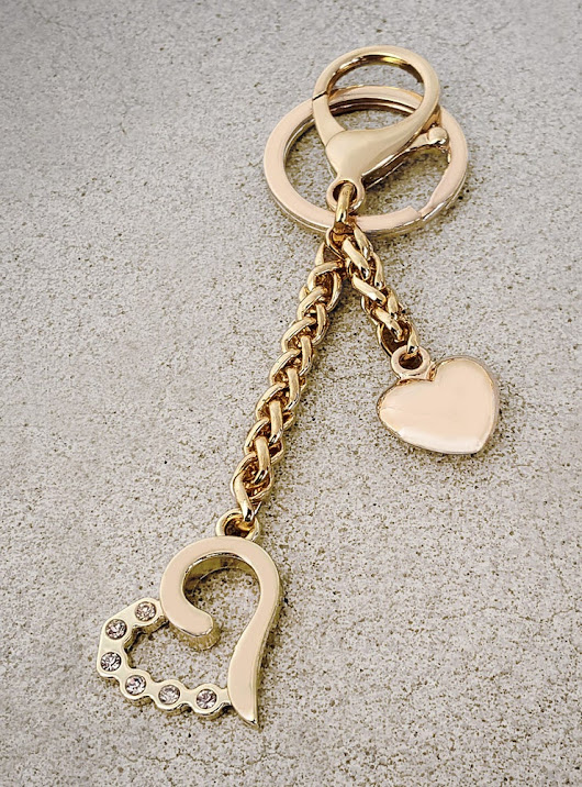 Heart Charm with Diamond Accents - Handbag Accessory, Keychain, Bag Charm - Gold or Nickel | Straps for Purses & Handbags - Leather, Chain, Nylon, Canvas | Mautto
