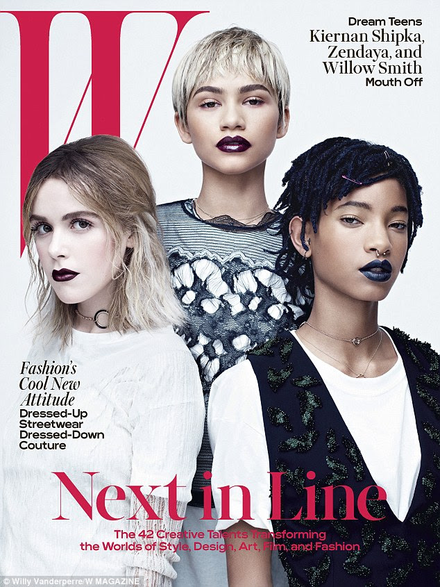 New generation of talent: Kiernan Shipka, Zendaya and Willow Smith feature in the April issue of W magazine