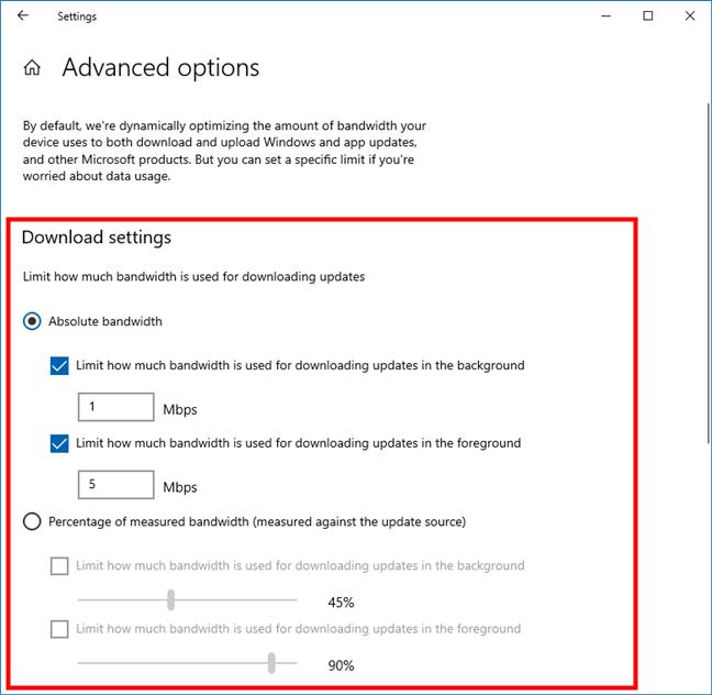 Ancho de banda Windows 10: límites de descarga de Windows Update