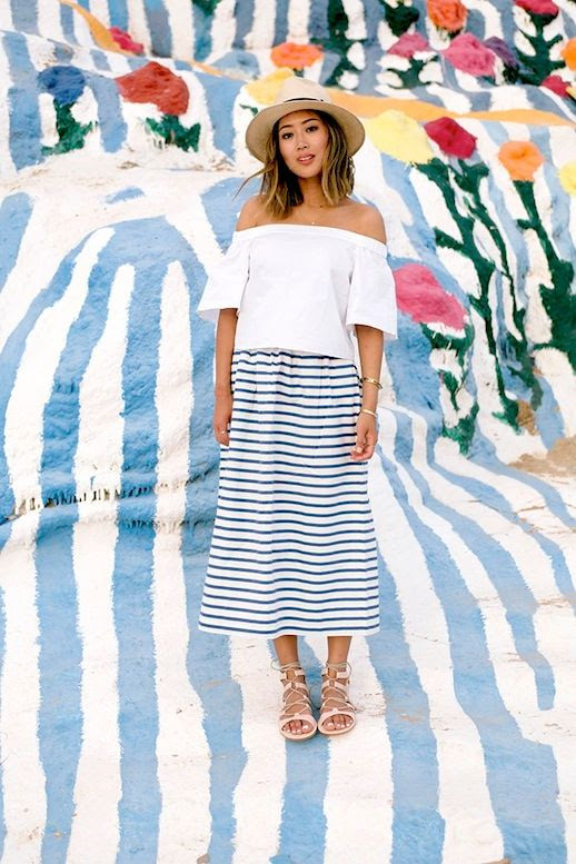 10 Le Fashion 31 Stylish Ways To Wear An Off The Shoulder Look White Tibi Top Striped Skirt Aimee Song Of Style
