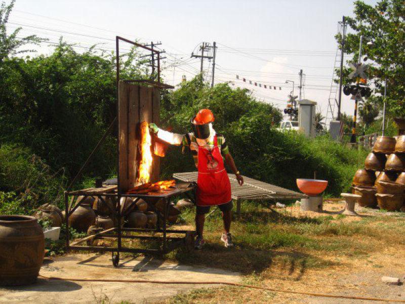Vendedor tailandês assa seus frangos com luz solar