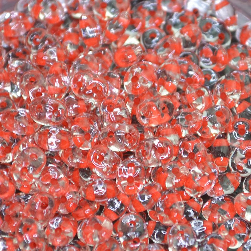 s42555 Czech Seedbeads - 2 Hole Superduos - Colour-Lined Crystal / Passion