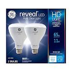 GE Lighting Reveal HD LED 11-watt (65-watt Replacement), 650-Lumen R30 Light Bulb with Medium Base, 2-Pack