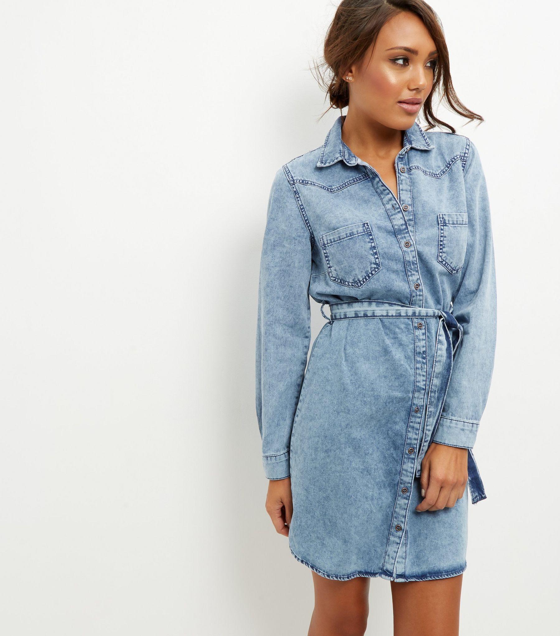Blue Denim Belted Shirt Dress | New Look