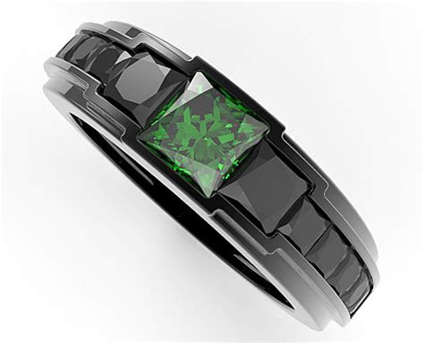 mens black gold emerald wedding band vidar jewelry