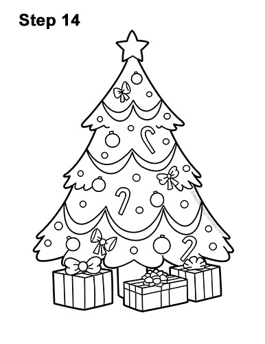 How To Draw A Christmas Tree With Gifts How To Wiki 89 This tutorial shows the sketching and drawing steps from start to finish. how to draw a christmas tree with gifts
