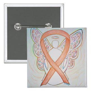 Gold Angel Awareness Ribbon Custom Art Pins