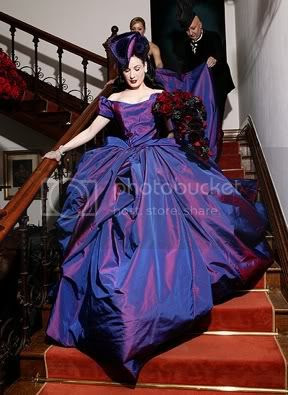 edding dress with a violet looks radiant and glowing