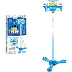 Egmy Kids Karaoke Machine With 2 Microphones Adjustable Stand Music Play Toys Set Blue