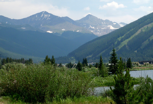 13,852 foot Crystal Peak, 13,950 foot Pacific Peak and some Copper Mountain ski runs from Tenmile Creek.