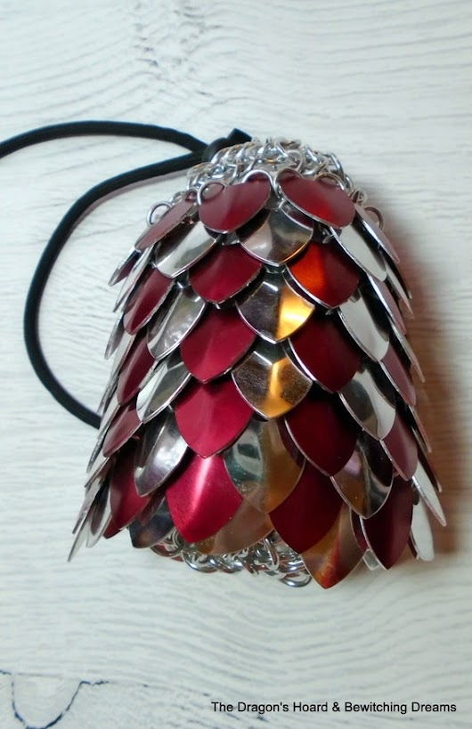 Scalemaille Bag  Red & Silver Scales by BewitchingDreams on Etsy
