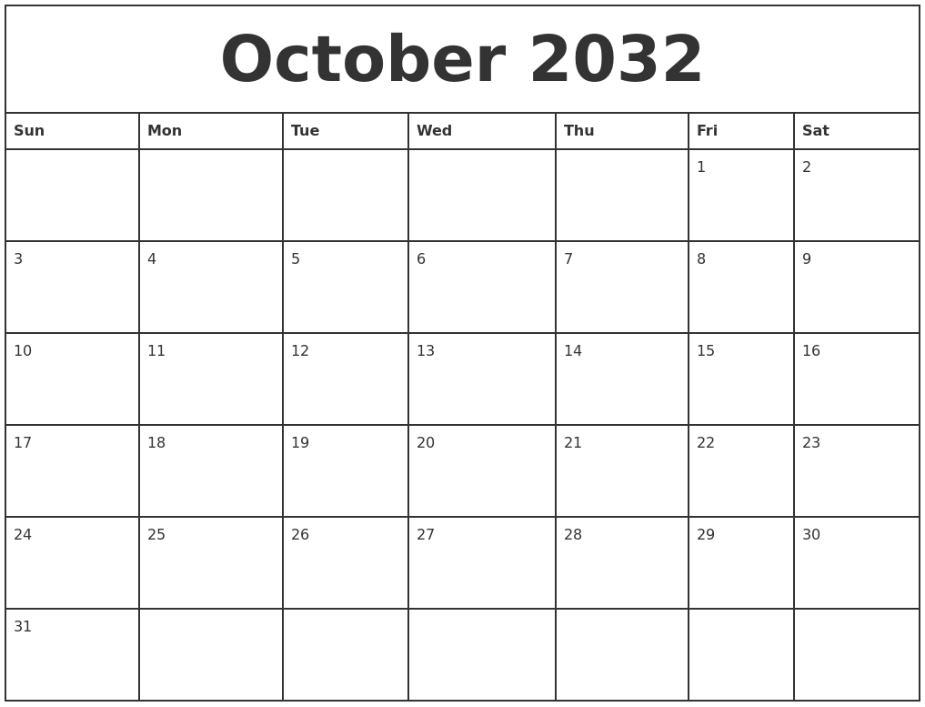 october 2032 printable monthly calendar
