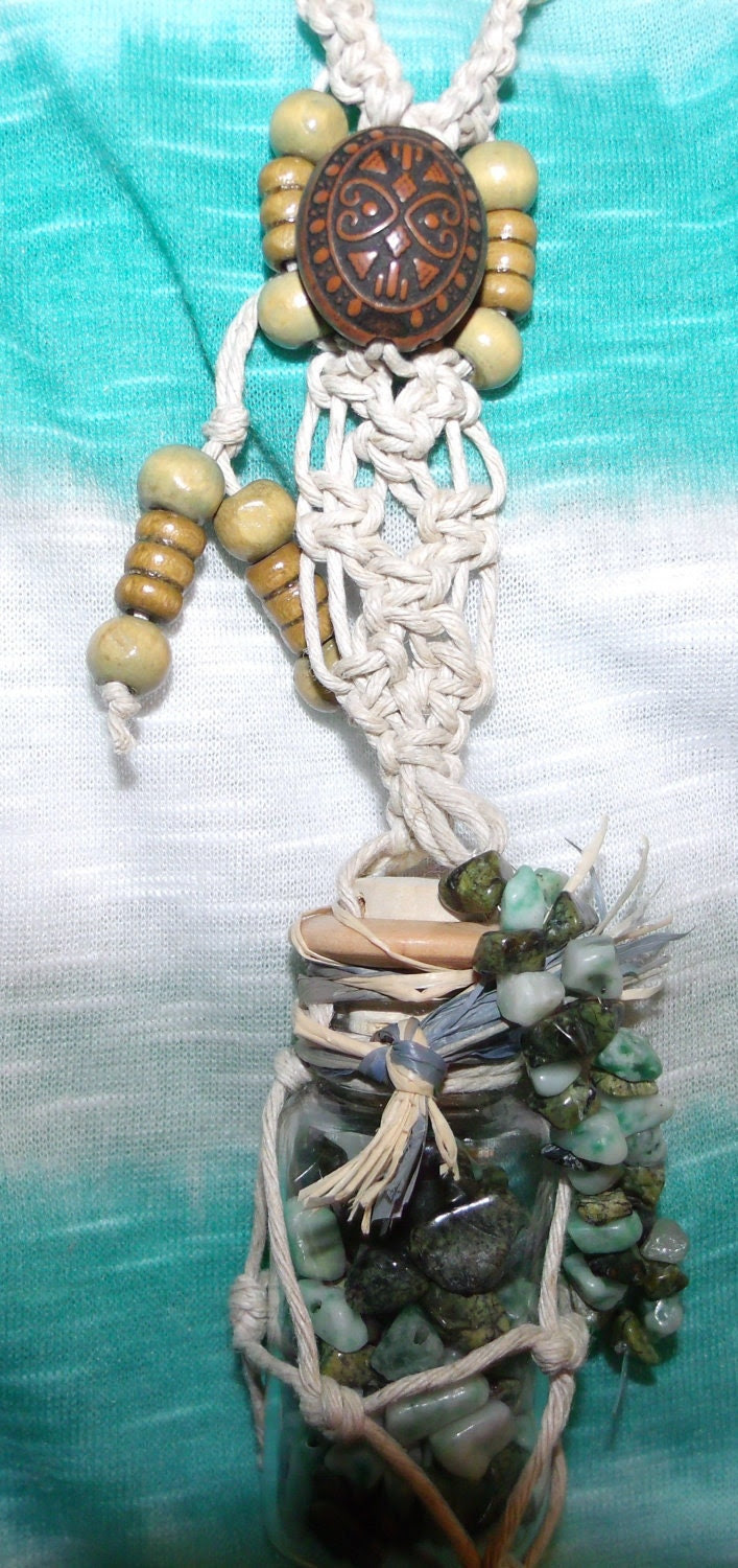 Natural Hemp Jade Filled Glass Bottle Necklace Wood Beads Adjustable Handmade FREE SHIPPING