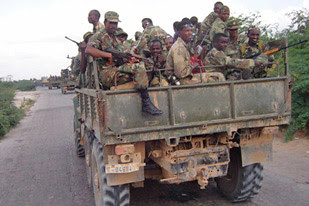 Ethiopian troops said to be in a Somalia town. The Ethiopian troops withdrew in January 2009 after occupying the country at the aegis of the United States. by Pan-African News Wire File Photos