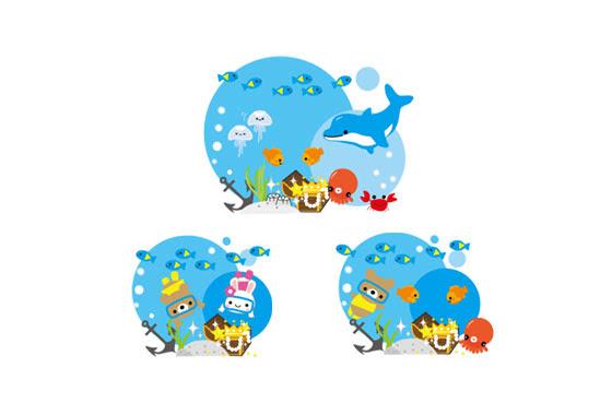 無料素材 海に沈む宝物と動物達を描いたかわいいフリーイラスト素材セット
