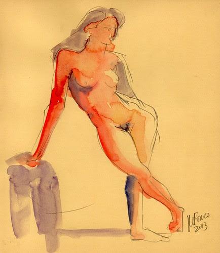 old sketch in watercolours by dibujandoarte