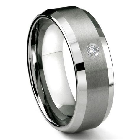 Tungsten Carbide 8MM Satin Finish Beveled Diamond