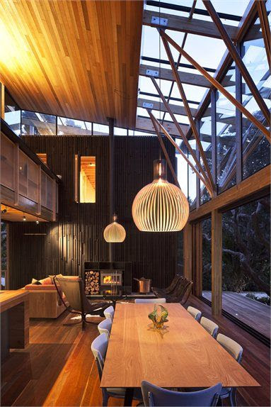 ~ Under Pohutukawa, Piha, 2011 by Herbst Architects - love the wood paneled wall + glass and window works #architecture #mountain #new #zealand #interiors