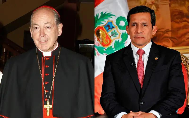 Cardenal Juan Luis Cipriani. Foto: Arzobispado de Lima / Ollanta Humala. Foto: Presidencia Peru (CC-BY-NC-SA-2.0)