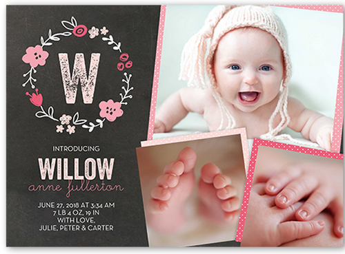 Crafty Collage Girl 5x7 Baby Announcement | Shutterfly
