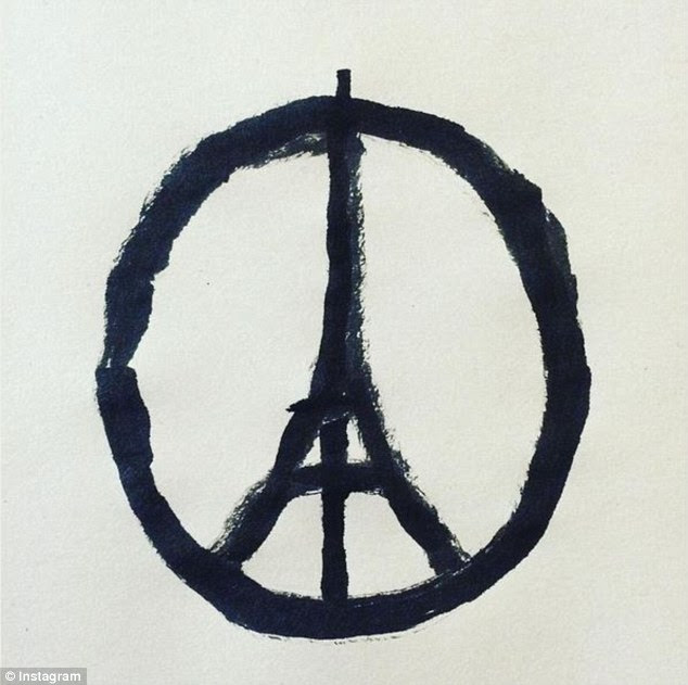 The symbol: A simply-drawn peach sign containing the Eiffel Tower has become the international symbol of solidarity following the horrific terrorist attacks that occurred across Paris on Friday