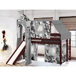 JACKPOT! Castle Low Loft Twin Bed with Slide Gray Camo Tent and Tower, Cherry