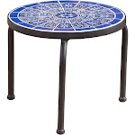Christopher Knight Home Slate Outdoor Round Tile Side Table by, Blue