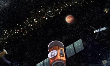 <p>Ilustración de un exocinturón de Clarke conhipotéticos satélites artificiales orbitando alrededor de un mundo desconocido./Caro Waro</p>