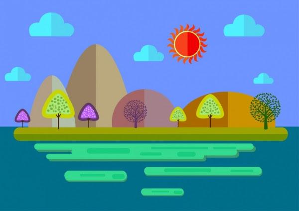 Pemandangan Alam Latar Belakang Berwarna Warni Kartun Gaya Sketsa