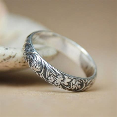 Narrow Wildflowers Wedding Band In Sterling   Silver