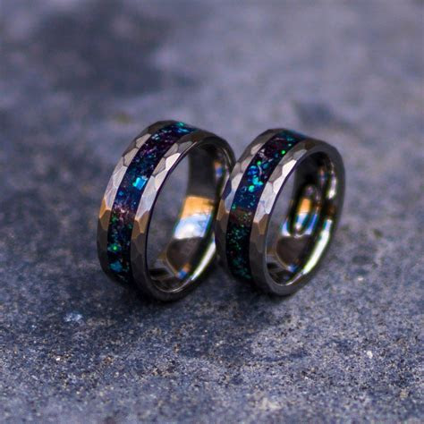 Tungsten galaxy ring,wedding ring, mens wedding band, opal