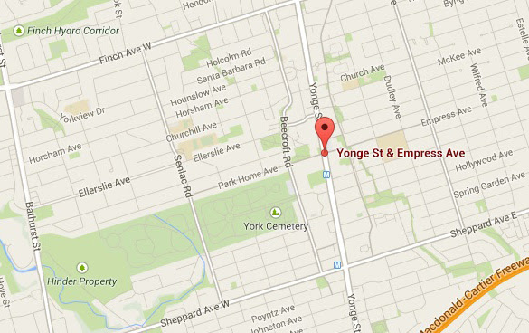 The area around Yonge St. and Empress Ave. (Credit: Google Maps)