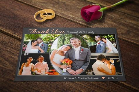 Wedding Thank You Cards Template PSD ~ Postcard Templates