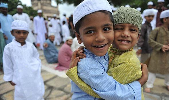 Two Muslim boys on Eid al-Fitr