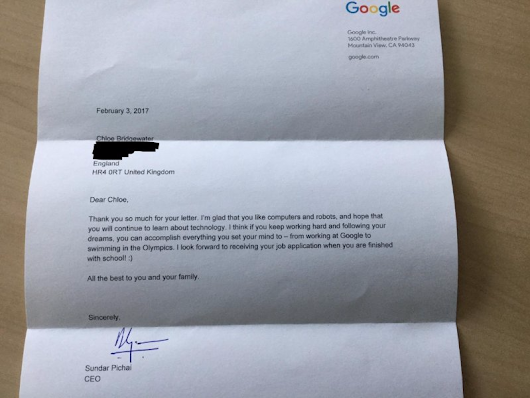 A 7-year-old girl asked Google for a job  --  and got a personal response from CEO Sundar Pichai