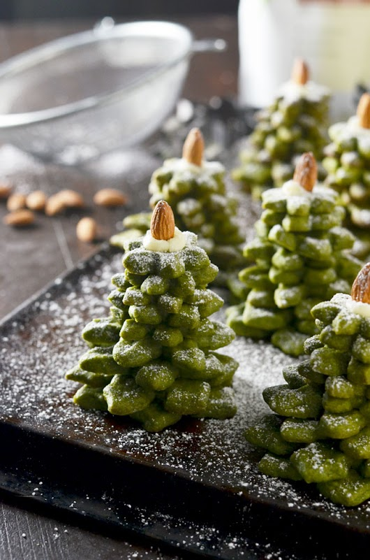 Matcha Cookie Christmas Tree Stacks