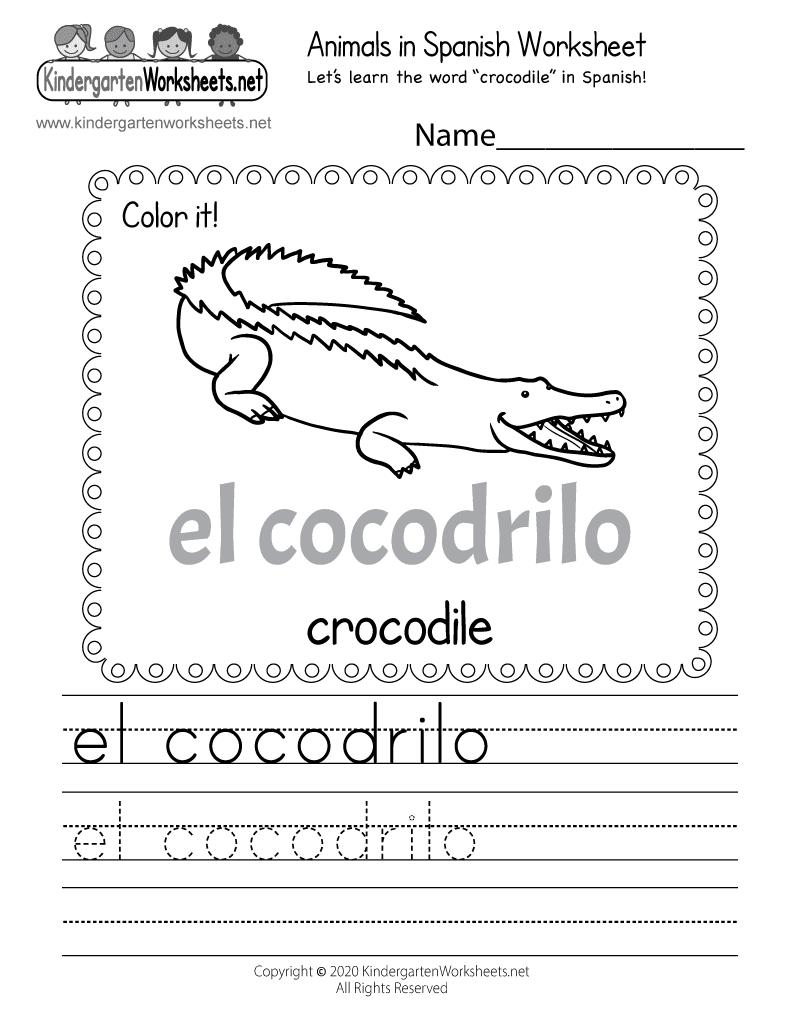 Free Spanish Worksheets Online Printable