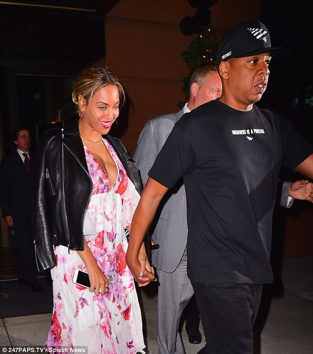 Just the two of us: The power couple held hands as they exited Del Posto after spending some quality time together on Beyonce's day off from her Formation World Tour