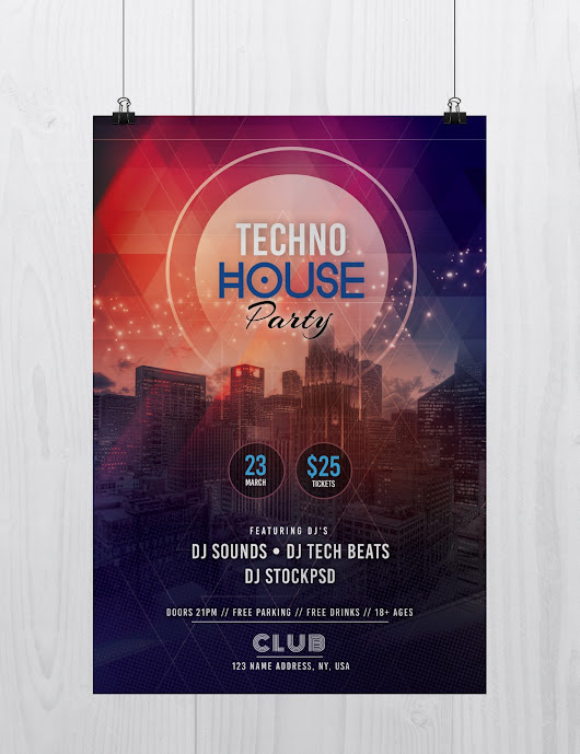 Tech House Party - Free PSD Flyer Template - Stockpsd.net
